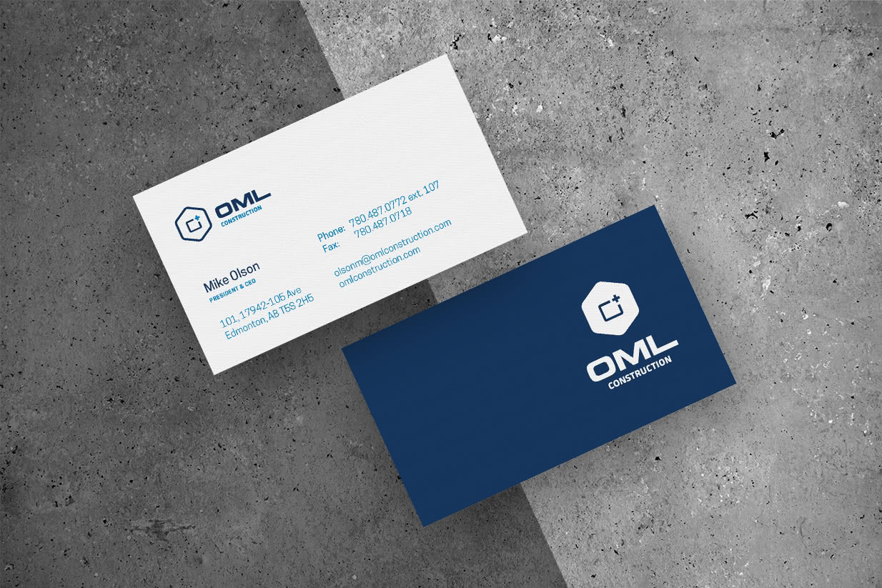 Showcase OML Construction Business Cards